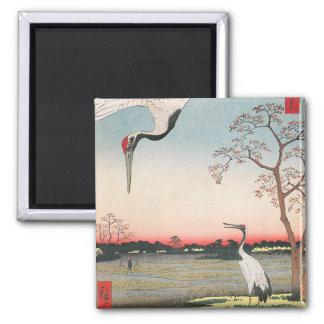 Egrets japoneses imán cuadrado
