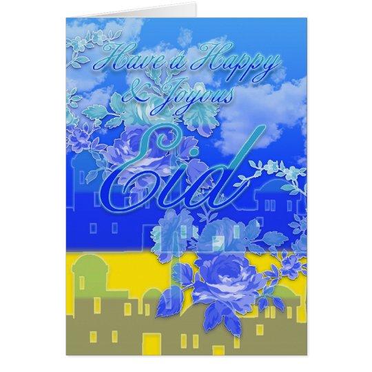 Eid de la tarjeta de Eid, feliz y feliz, azul