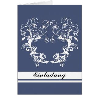 Einladung - flower frame blue grußkarten