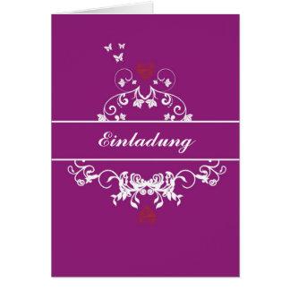 Einladung - red heart lila grußkarten