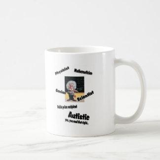 Einstien autístico taza de café