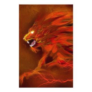 Ejemplo artístico de las llamas del león del fuego papeleria de diseño