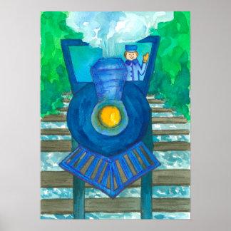 Ejemplo azul de la acuarela del tren póster