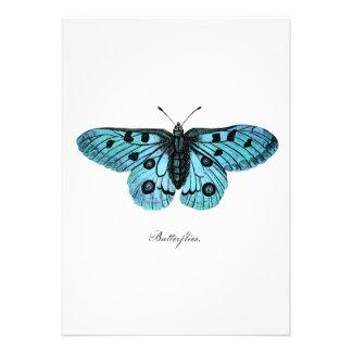 Ejemplo azul de la mariposa del trullo del vintage comunicados