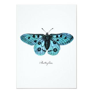 Ejemplo azul de la mariposa del trullo del vintage invitación 12,7 x 17,8 cm