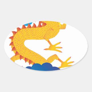 Ejemplo chino del dragón del Año Nuevo Pegatina Ovalada