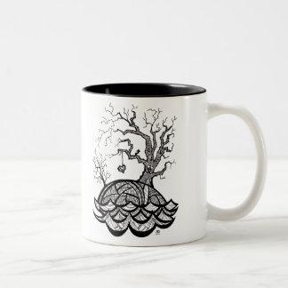 Ejemplo complejo del árbol del corazón de la taza de café de dos colores