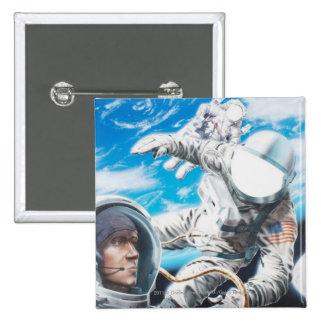 Ejemplo de astronautas americanos en espacio chapa cuadrada 5 cm