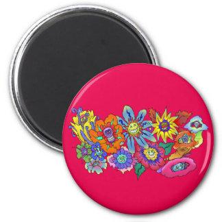 Ejemplo de flores, insignia redonda del dibujo imanes