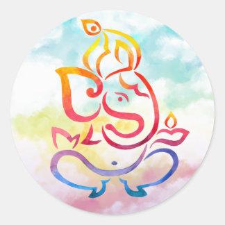 Ejemplo de Ganesha en fondo en colores pastel del Pegatina Redonda