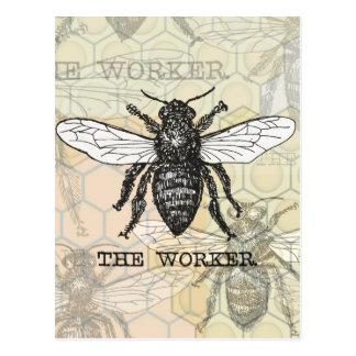 Ejemplo de la abeja de trabajador del vintage postal