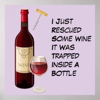 Ejemplo de la botella y del vidrio de vino póster