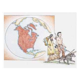 Ejemplo de la familia india americana en frente postal
