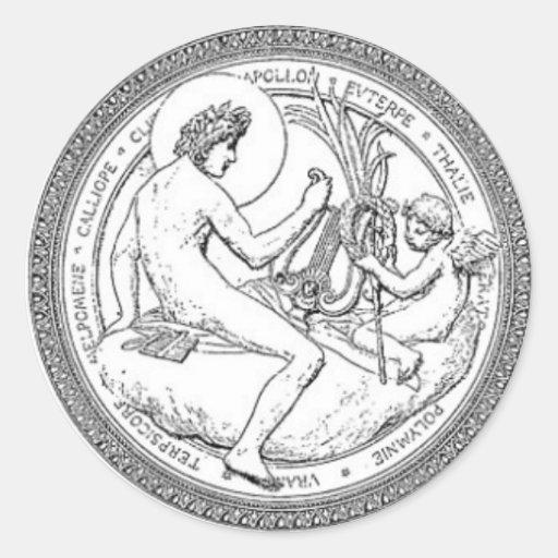 Ejemplo de la obra clásica del techo de DaVinci y Etiquetas Redondas