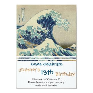 Ejemplo de la onda azul del japonés invitación 12,7 x 17,8 cm