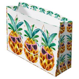 Ejemplo de las acuarelas de la piña del verano bolsa de regalo grande