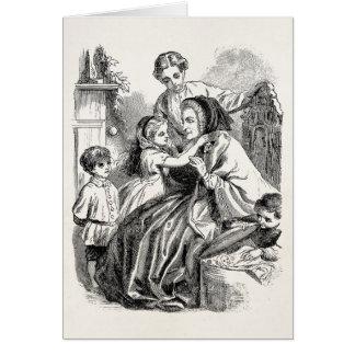 Ejemplo de las mujeres de los niños del Victorian Tarjeta Pequeña