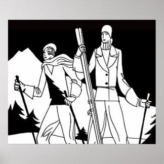 Ejemplo de los esquiadores de los pares del esquí  póster