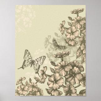 Ejemplo de mariposas y de flores póster