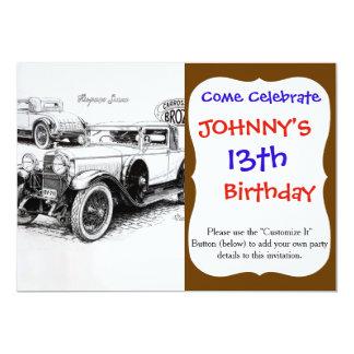 Ejemplo del coche del vintage invitación 12,7 x 17,8 cm
