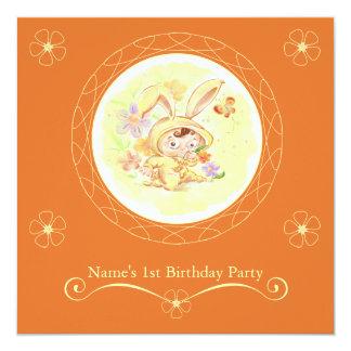 Ejemplo del conejo de la fiesta de cumpleaños de comunicado personal