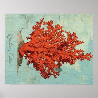 Ejemplo del coral rojo del vintage póster