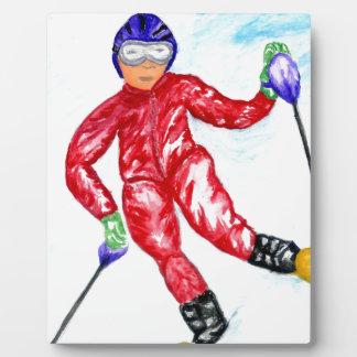 Ejemplo del deporte del esquiador placa expositora