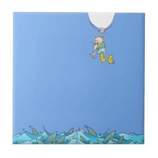 Ejemplo del dibujo animado de un hombre que cuelga azulejo de cerámica