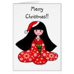 Ejemplo del dibujo animado del navidad del chica d felicitacion