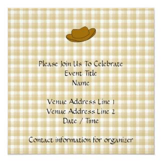 Ejemplo del gorra de vaquero. Brown Invitación 13,3 Cm X 13,3cm