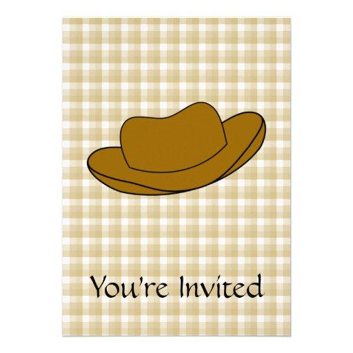 Ejemplo del gorra de vaquero. Brown Invitacion Personal