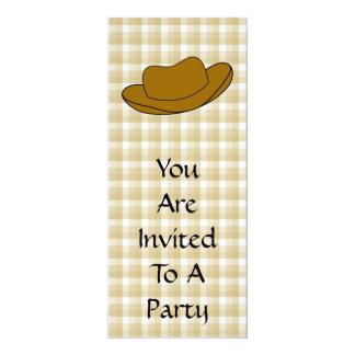 Ejemplo del gorra de vaquero. Brown Invitación 10,1 X 23,5 Cm