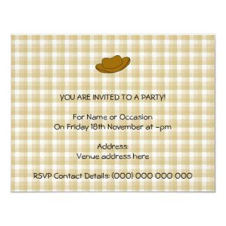 Ejemplo del gorra de vaquero. Brown Invitación 10,8 X 13,9 Cm