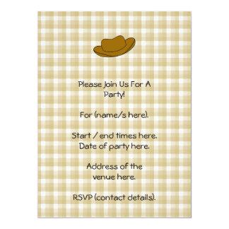 Ejemplo del gorra de vaquero. Brown Invitación 16,5 X 22,2 Cm