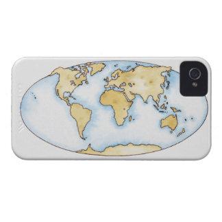 Ejemplo del mapa del mundo iPhone 4 carcasa