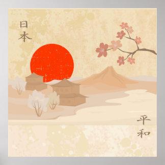 Ejemplo del paisaje de Japón Póster