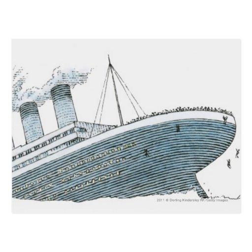 Ejemplo del pasajero que cae del titánico tarjeta postal