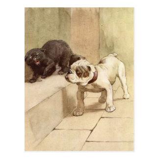 Ejemplo del perrito del dogo del vintage postal
