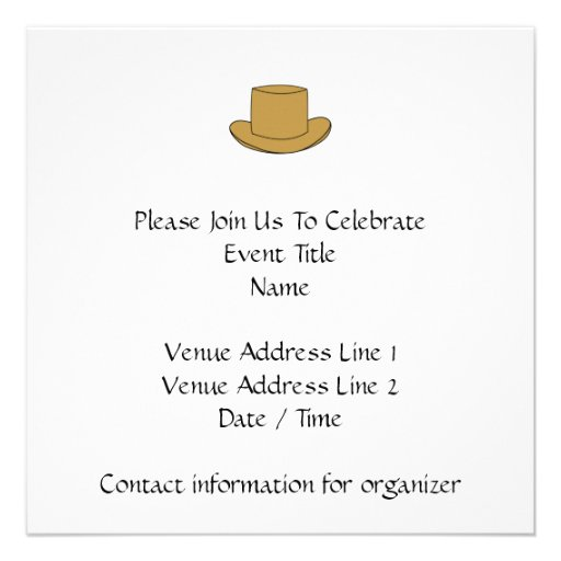 Ejemplo del sombrero de copa. Brown Invitacion Personalizada