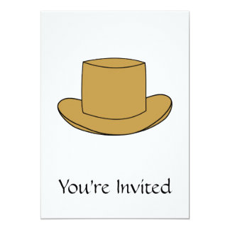 Ejemplo del sombrero de copa. Brown Invitación 12,7 X 17,8 Cm