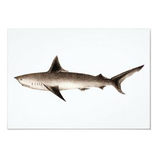 Ejemplo del tiburón del vintage - plantilla retra invitación 8,9 x 12,7 cm