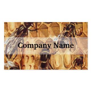 Ejemplo del vintage, abejas en una colmena tarjetas de visita