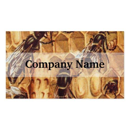 Ejemplo del vintage, abejas en una colmena plantilla de tarjeta personal