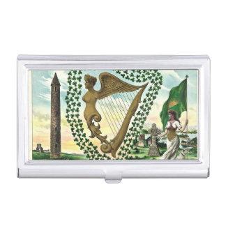 Ejemplo del vintage de la arpa de la mujer del caja de tarjetas de visita