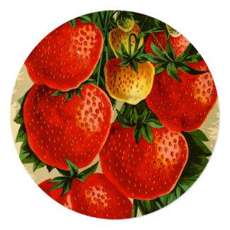 Ejemplo del vintage de la fresa de Jessie Invitación 13,3 Cm X 13,3cm