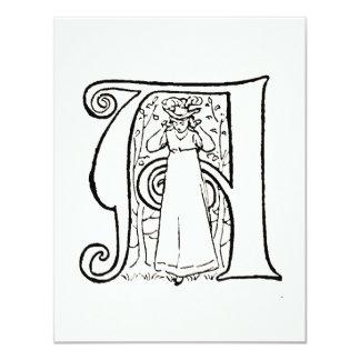 Ejemplo del vintage de la letra A Invitación 10,8 X 13,9 Cm