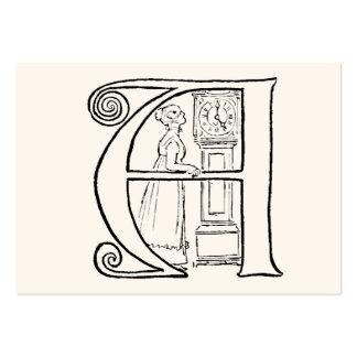Ejemplo del vintage de la letra A Tarjetas De Visita Grandes