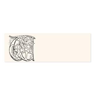 Ejemplo del vintage de la letra w tarjetas de visita mini