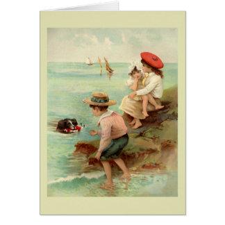 Ejemplo del vintage de la playa tarjeta de felicitación