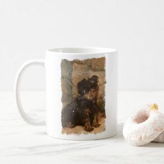 Ejemplo del vintage de la taza de café del terrier